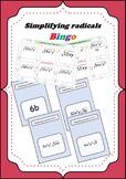 Simplifying radicals Bingo game with 30 bingo game cards
