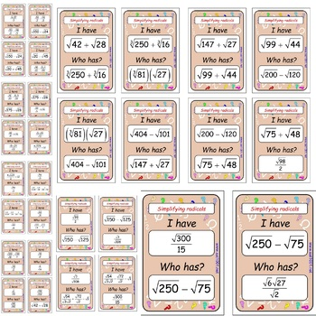 Simplifying radicals – I have who has game : 30 cards