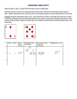 Simplifying radicals card activity