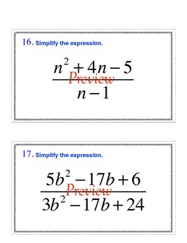 Simplifying rational expressions task cards