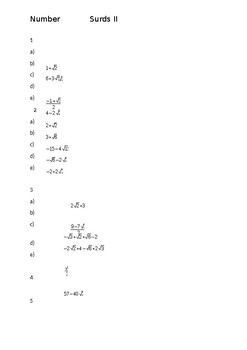 Simplifying surds Answers