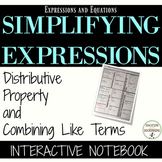 Simplifying with Distributive Property and Combining Like Terms Notebook