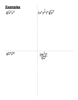 Simplifying with Rational Exponents Graphic Organizer