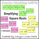 Simplifying Square Roots - Reducing Square Roots- Domino like Matching Activity