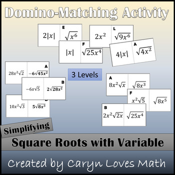 Simplifying/Reducing Square Roots with Variables - Domino like Matching Activity