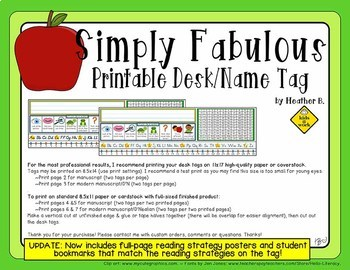Printable Desk Plate / Name Tag With Reading Prompts, 120