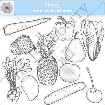 Simply Fruits & Vegetables Clip Art Set