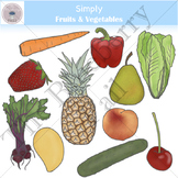 Simply Fruits & Vegetables Clip Art Set