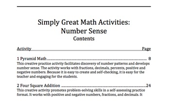 Simply Great Math Activities: Number Sense