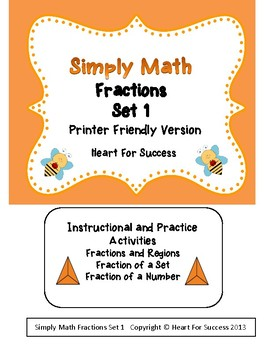 Simply Math Fractions Set 1 Printer Friendly Version