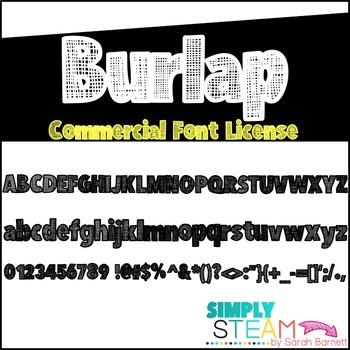 Simply STEAM Bubbles Burlap Font for Personal and Commercial Use