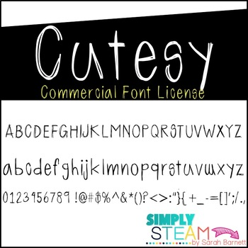 Font: Cutesy Font License for Personal & Commercial Use