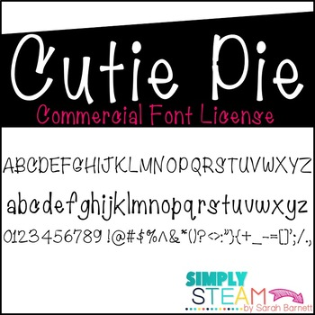 Font: Cutie Pie Font License for Personal & Commercial Use