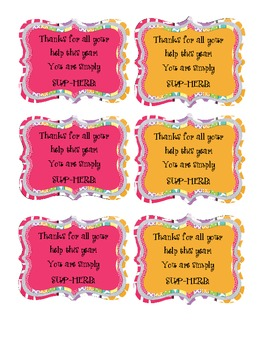 Simply SUP-HERB Classroom Volunteer Plant Gift Tags