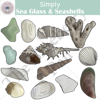 Simply Sea Glass & Seashells Clip Art Set