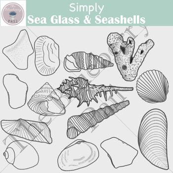 Simply Sea Glass & Seashells Clipart Set