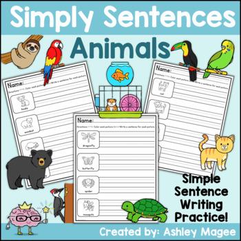 Simply Sentences - Animals - No Prep Writing Practice