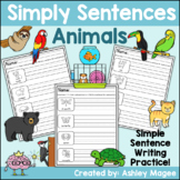 Simply Sentences - Animals - No Prep Writing Practice