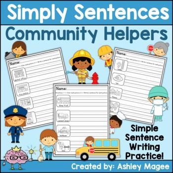 Simply Sentences - Community Helpers - No Prep Sentence Writing Practice