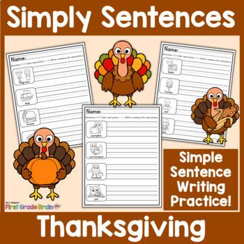Simply Sentences - Thanksgiving - No Prep Writing Practice