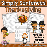 Simply Sentences - Thanksgiving - No Prep Writing Practice