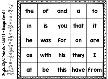 Simply Sight Words - Fry List 1 - Bingo