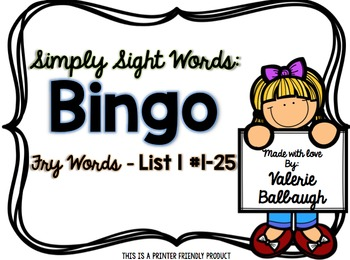 Simply Sight Words - Fry List 1 - Bingo