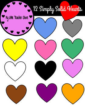 Simply Solid Hearts Clipart-(Personal and Commerical Use)-FREEBIE!!!