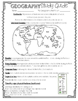 Simply Sprout Social Studies Geography Interactive Notebook / Study Guide & Test