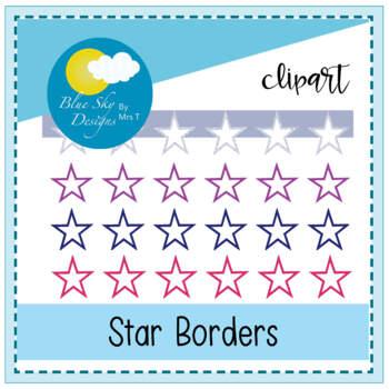 Simply Stars Frames - Border Clip Art