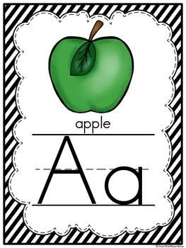 Simply Stripes -Black & White- Alphabet Display Poster Set