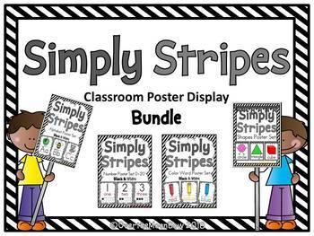 Simply Stripes   Black & White Classroom Décor Poster Bundle