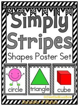 Simply Stripes |Black & White| Shapes Poster Set