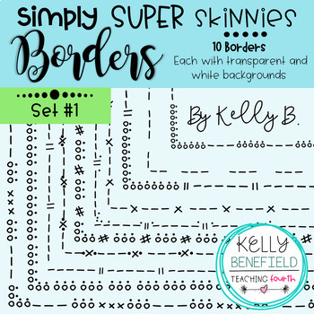 Simply Super Skinny Borders Bundle {Clip Art by Kelly Benefield}