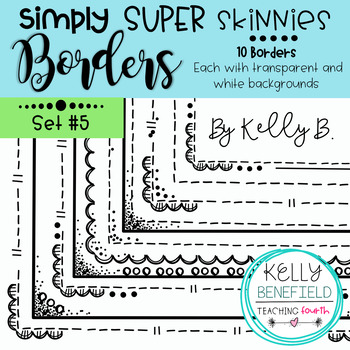 Simply Super Skinny Borders Set #5 {Clip Art by Kelly Benefield}