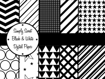 Simply Sweet Black and White Digital Paper Pack