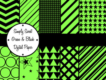 Simply Sweet Green and Black Digital Paper Pack