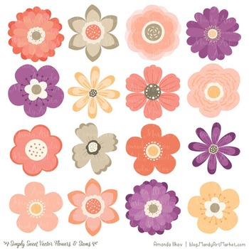 Simply Sweet Vector Flowers & Stems Clipart in Antique Peach