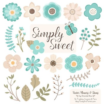 Simply Sweet Vector Flowers & Stems Clipart in Aqua