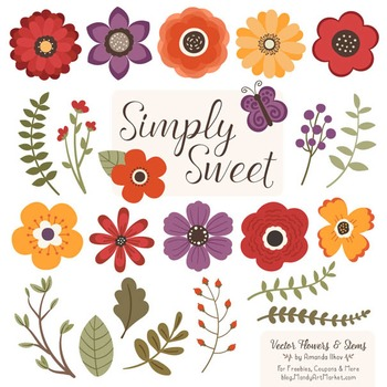 Simply Sweet Vector Flowers & Stems Clipart in Autumn