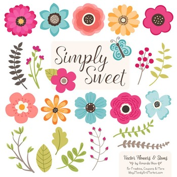 Simply Sweet Vector Flowers & Stems Clipart in Bohemian