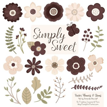 Simply Sweet Vector Flowers & Stems Clipart in Chocolate