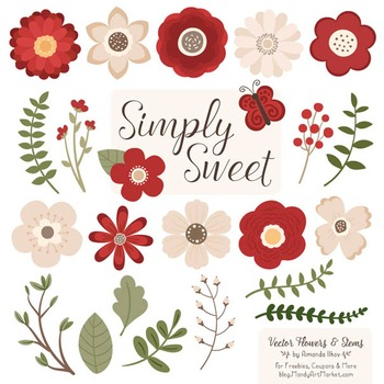 Simply Sweet Vector Flowers & Stems Clipart in Christmas