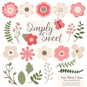 Simply Sweet Vector Flowers & Stems Clipart in Coral