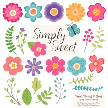 Simply Sweet Vector Flowers & Stems Clipart in Crayon Box