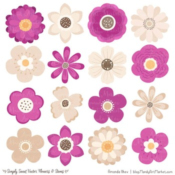 Simply Sweet Vector Flowers & Stems Clipart in Fuchsia