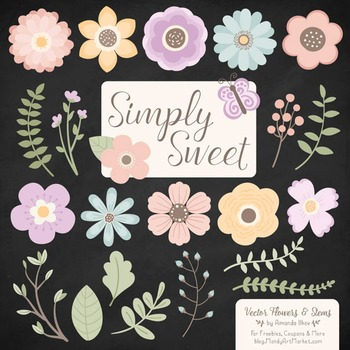 Simply Sweet Vector Flowers & Stems Clipart in Grandmas Garden