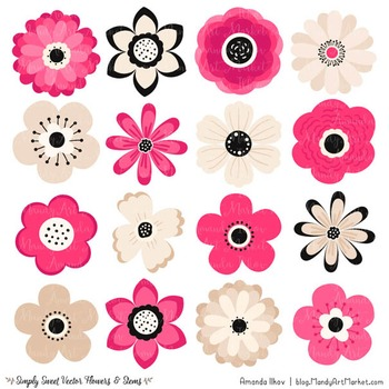 Simply Sweet Vector Flowers & Stems Clipart in Hot Pink