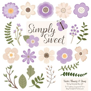 Simply Sweet Vector Flowers & Stems Clipart in Lavender