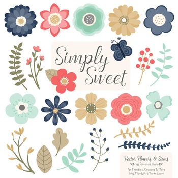 Simply Sweet Vector Flowers & Stems Clipart in Modern Chic